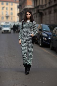 You just got out of bed but still...Street Style Fall 2013 - Milan Fashion Week Street Style - Harper's BAZAAR