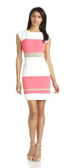Sandra Darren Women's Mystery Crepe Sleeveless Colorblock Dress
