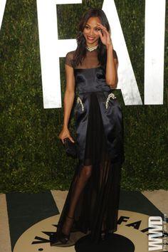 Vanity Fair's Annual Post-Oscar Bash Zoe Saldana in Marios...   via http://womensweardaily.tumblr.com/ http://stylesta.lk/emr5A