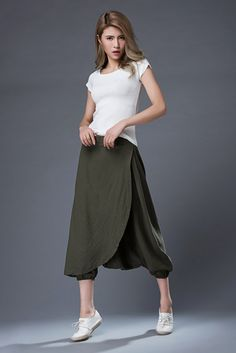 Green Linen Pants  Casual Comfortable Harem Style by YL1dress