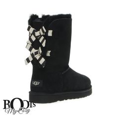 UGG BAILEY BOW STRIPE BLACK BOOTS - WOMEN'S