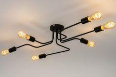 72878 Strakke, minimalistische fittinglamp voor aan het plafond. Deze plafondlamp is gemaakt van metaal en uitgevoerd in een mat zwarte kleur. De plafondlamp bestaat uit zes fittingen. Voor het meest sfeervolle resultaat adviseren wij u gebruik te maken van heldere, led lichtbronnen. Daughters Room, Art Deco, Led Lampe, Track Lighting, Light Bulb, New Homes, Chandelier, Ceiling Lights, Interior