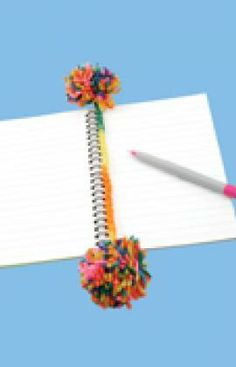 Pom Pom and simple crochet chain bookmark.