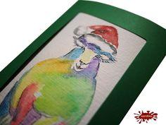 Weihnachten mal anders: - Einzelstück handgemalte Weihnachtskarte Buntschaf - ein Designerstück von wandklex bei DaWandaPostkarte mal anders;  handgemalte Karten - geht übrigens auch nach Ihrem Foto :-) Alles zu haben im kleinen Klexshop auf DaWanda unter http://de.dawanda.com/shop/wandklex (einzeln handgemalte Karten, ;-) )  Jede Karte ein Unikat, alle Tierrassen und auch Personen möglich, auch Kleinserien.