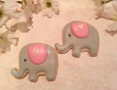 Sweet Grey and Pink Baby Elephant Cookies - 1 Dozen (12) Baby Shower Favor - Birthday Gift - Baby Girl