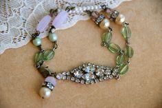 Sophia.vintage assemblage rhinestone bracelet. Tiedupmemories