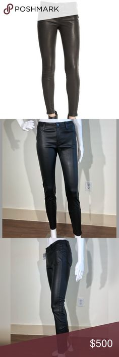 """**SOLD**J BRAND  Mid Rise Stretch Lambskin Pant 26 J Brand Jeans lambskin leather pants.     Approx. measurements: 9"""" front rise, 28"""" inseam, 36"""" outseam, 10"""" leg opening.     Four-pocket style.     Rise sits below the natural waist.     Fitted though skinny legs.     Zip detail at outside ankles.     Button/zip fly; belt loops.     Dry clean.     Imported.  RETAIL $998.00  BRAND NEW NEVER WORN!  I also have a size 27, see other listing! J Brand Pants Skinny"""