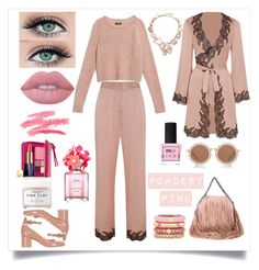 """Powdery Pink"" by rizzasantos on Polyvore featuring Gianvito Rossi, Agent Provocateur, STELLA McCARTNEY, Max&Co., House of Holland, Adolfo Courrier, Oscar de la Renta, Lime Crime, Estée Lauder and Marc Jacobs"