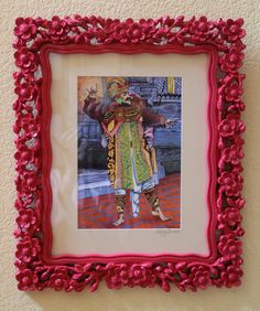 Balinese Dancer, Giclee Print Framed with Ornate Balinese Style Frame and Glass,18 x 15 with Frame,  Archival Acid Free Paper, Ink, Mat