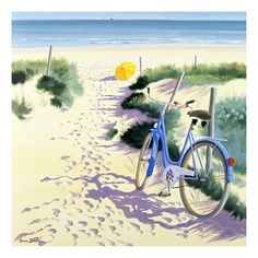 Henri Deuil - La Parasol Jaune - art prints and posters Bicycle Painting, Bicycle Art, Bicycle Design, Parasol, Stretched Canvas Prints, Anime Comics, Art And Architecture, Watercolor Paintings, Watercolors