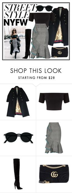 """""""Street STYLE"""" by snoopy757 ❤ liked on Polyvore featuring Gucci, Yves Saint Laurent, contestentry and NYFWHotPink"""