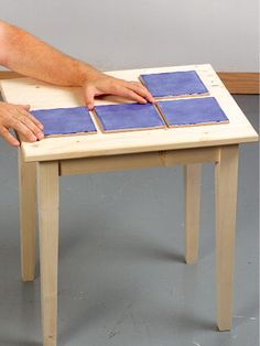 Tiling a table top. Table Top Redo, A Table, Recycled Furniture, Diy Furniture, Painted Furniture, Tile Top Tables, Mosaic Tables, Wood Tables, Small Tiles