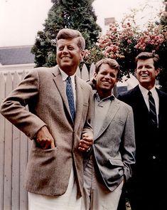 Three Kennedy Brothers in Hyannisport, Mass  President John F. Kennedy, Attorney General Robert F. Kennedy, Senator Edward M. Kennedy.