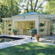 and Pool House Ideas Make sure that your pavilion is a beautiful addition to your outdoor décor by matching the style and color with that of your house Here the st. Pool Cabana, My Pool, Outdoor Rooms, Outdoor Living, Outdoor Decor, Pool House Designs, Backyard Pavilion, Pergola Attached To House, Pool Houses