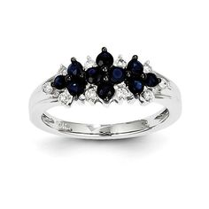 14K White Gold Diamond & Sapphire Ring Y11313S/AA