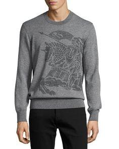 BURBERRY Equestrian Knight Cashmere Sweater, Light Gray Melange. #burberry #cloth #