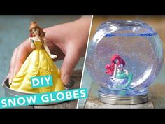 You will love to make these Disney Princess Snow Globes and they are super cute and inexpensive to make. We have a video tutorial to show you how. crafts for kids for teens to make ideas crafts crafts Snow Globe Crafts, Diy Snow Globe, Christmas Snow Globes, Cheap Christmas, Christmas Crafts, Disney Diy Crafts, Diy Crafts For Kids, Disney Princess Crafts, Diy Disney Decorations