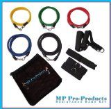 MP Pro-Products 11pc Resistance Band Set - 5 Bands, 2 Handles, Door Anchor, 2 Leg Straps + Bag - Men, Women, Use for P90x Home Gym Workouts, Crossfit, Legs, Torso, Top or Bottom Muscle Groups - Its a Gym At Home or on the Road - Best L