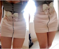 Cute outfit--love the bow on the skirt!