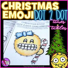 Christmas Math: Dot to Dot Times Tables Emoji Theme - Diff