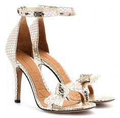 Isabel Marant 'Dore' python-effect metallic leather sandals >> Shoeperwoman