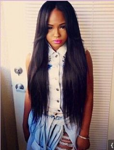 weave straight hair with middle part 18 in - Google Search