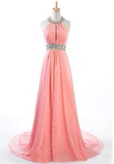 [$179.00] Chiffon Halter A-Line Long Prom Dress