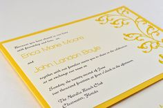 modern elegant yellow invitation, back of invitation has a pocket for rsvp postcard!!