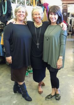 These Three Hot Sistas rocked our Signature Tee yesterday!!! Susan wore the black with our Brown Pencil Skirt. Linda wore her black one layered with a long tank and a black skirt. Julie rocked the OD Green one with a black tank dress and our camo flats. TOO FAB!!!