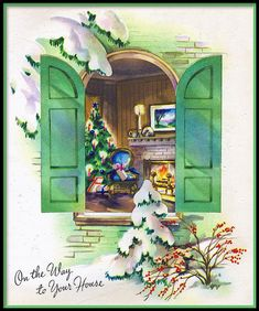 Lovely vintage holiday greeting card. #vintage #Christmas #cards