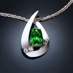 green topaz necklace - white sapphire pendant - Argentium silver - eco friendly - statement necklace - wedding - 3378