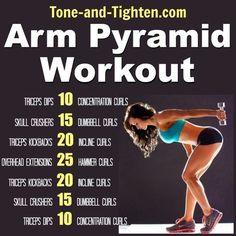 Arm Pyramid Workout – The best exercises to tone and tighten your arms! best-arm-pyramid-workout-exercise-arms-tone-and-tighten Fitness Motivation, Fit Girl Motivation, Fitness Goals, Fitness Plan, Workout Fitness, Crossfit Arm Workout, Arm Workout No Equipment, Fitness Challenges, Men's Fitness