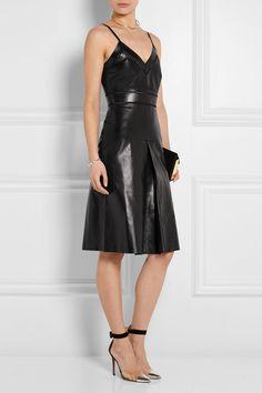 Gucci|Pointelle-trimmed leather dress|NET-A-PORTER.COM