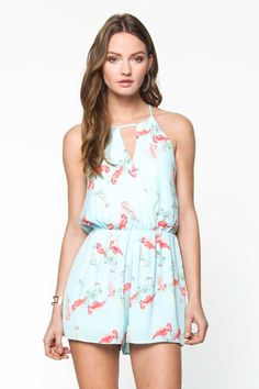 Everly Clothing Flamingo Print Romper in Light Blue P7005
