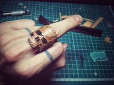 An example of tooling small images: How To Make Leather Carving skullring 革の指輪 髑髏 【ATUMI STYLE】 Leather Ring, Leather Art, Leather Design, Leather Cuffs, Leather Jewelry, Tooled Leather, Leather Tooling Patterns, Leather Pattern, How To Make Leather