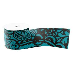Turquoise vintage retro floral pattern ribbon blank ribbon