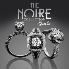 Shane Co.'s exclusive Noire Collection features engagement ring and wedding band designs that have a unique and bold look. Take a look at a few favorites! #ShaneCo