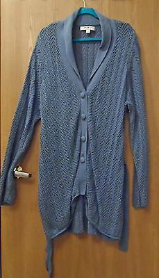 TOMMY HILFIGER Plus Size 3X Blue X-Long Belted Cardigan