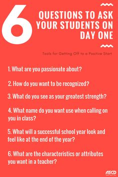 6 Questions to ask your students on day one. Tools for getting off to a positive start on the first day of school. 6 Questions to ask your students on day one. Tools for getting off to a positive start on the first day of school. First Day Of School Activities, 1st Day Of School, Beginning Of The School Year, First Day Of School Quotes, Middle School Quotes, High School Principal, Back To School Art, First Day Of Class, School School