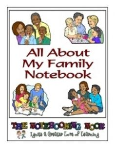 All About My Family Notebook: Have your children create a notebook about the most important people in their lives, their family!  Your child could interview individuals from your family to learn more about their heritage, add photos and write biographies of those who have passed on.