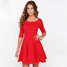 Tengo Women Slim Flared Tunic Corrugated Neckline Red Dress