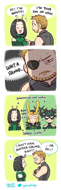 okay i'm not sure if it's just me but loki and hela look more like brother and sister than thor does. is thor the one who's actually adopted? Avengers Comics, Heros Comics, Funny Marvel Memes, Marvel Jokes, Dc Memes, Avengers Memes, The Avengers, Funny Comics, Thor Meme