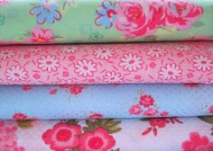 Shabby Chic Green Floral Fat Quarter Bundle