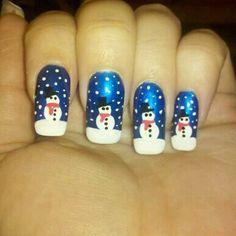 Winter Fun, nail art, nail porn, new year, snowman