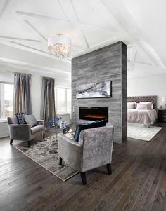 15 Double-Sided Fireplace Design Ideas For A Warm Home During Winter - Page 3 of 3 Interior Design Bedroom, Fireplace Seating, Home, Decor Interior Design, Interior, Simple Bedroom, Luxury Bedroom Master, Modern Bedroom, Luxury Bedroom Design