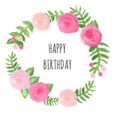 Mooie verjaardagskaart met rozen en blaadjes, verkrijgbaar bij #kaartje2go voor € 1,89