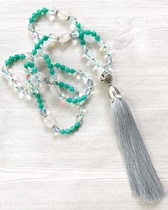 Long Turquoise Tassel Necklace, Boho Tassel Necklace, Knotted Gemstone Necklace, Quartz and Agate Necklace, Beaded Statement Necklace by FlowersInMyHairShop on Etsy https://www.etsy.com/listing/531919727/long-turquoise-tassel-necklace-boho