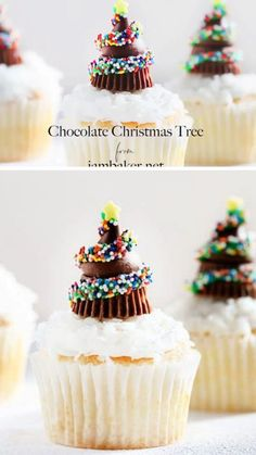 Chocolate Christmas Tree Cupcakes Christmas tree cupcake ideas are a delicious treat every holiday season! Excite your kids to a Christmas tree cupcake mixed with Hershey kisses and mini stars. Make your Christmas holiday extra special with this Christmas Christmas Tree Cupcakes, Christmas Party Food, Christmas Sweets, Christmas Cooking, Christmas Dessert For Kids, Chrismas Cake, Christmas Chocolates, Winter Cupcakes, Christmas Cupcakes Decoration