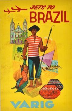 Brazil Fisherman Varig, 1960s - original vintage poster listed on AntikBar.co.uk