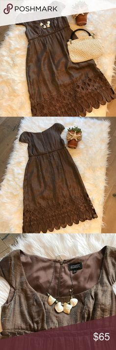 Bronze Dressy Dress Worn Once! Darling flattering Empire waist dress with scooped neck & zippered back.  Completely lined!  Bundle with necklace or bag & save 20% Make an offer!  This one won't last! Adrianna Pappell Dresses Midi